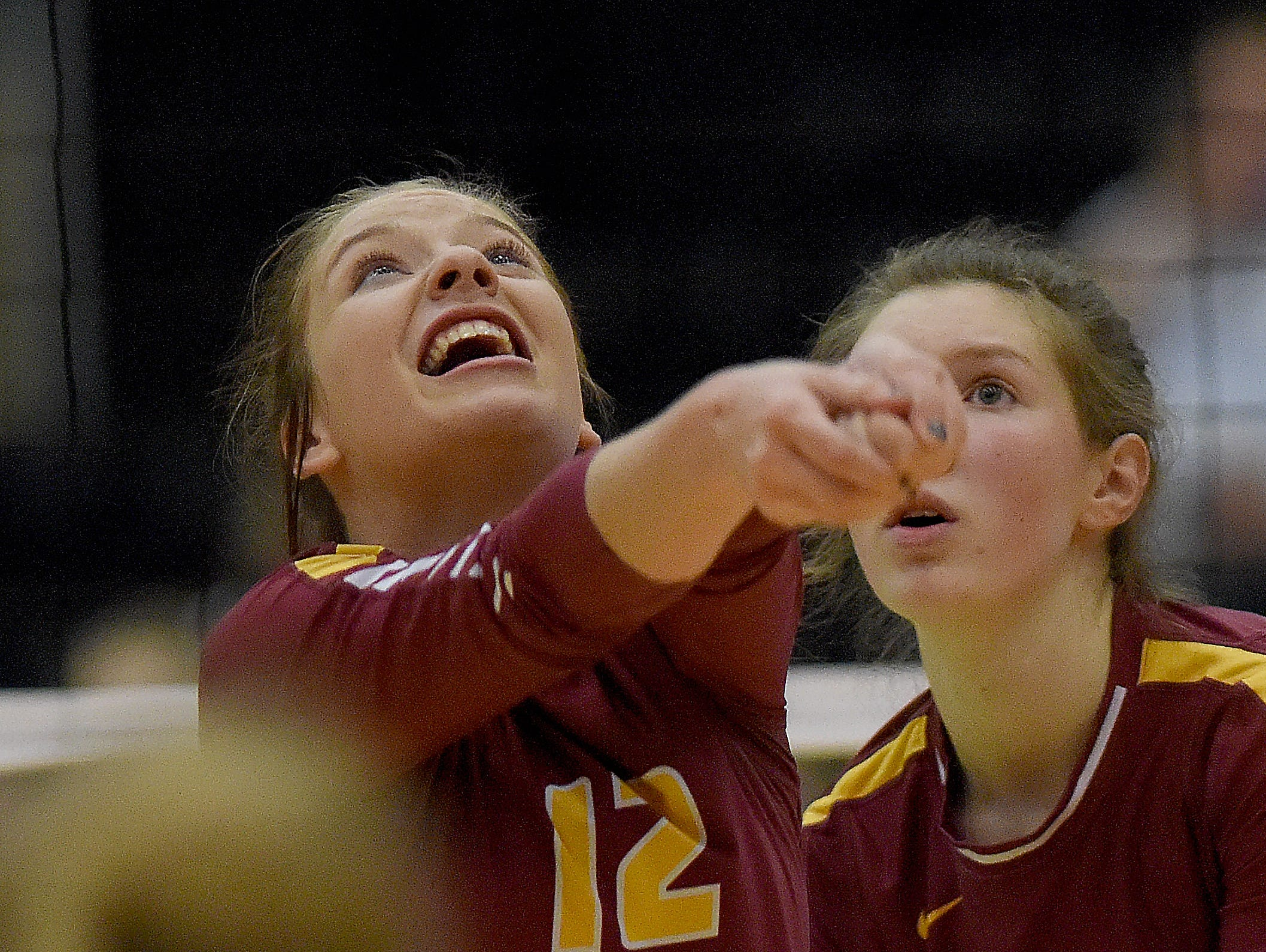 Scenes from the S.D. State AA Volleyball championship between the Harrisburg Tigers and the Roosevelt Rough Riders at the Swiftel Center in Brookings.