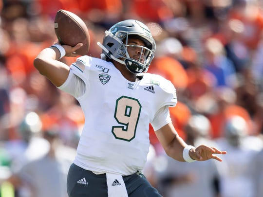Sep 14, 2019; Champaign, IL, USA; Eastern Michigan Eagles quarterback Mike Glass III (9) passes during the first half against the Illinois Fighting Illini at Memorial Stadium. Mandatory Credit: Patrick Gorski-USA TODAY Sports