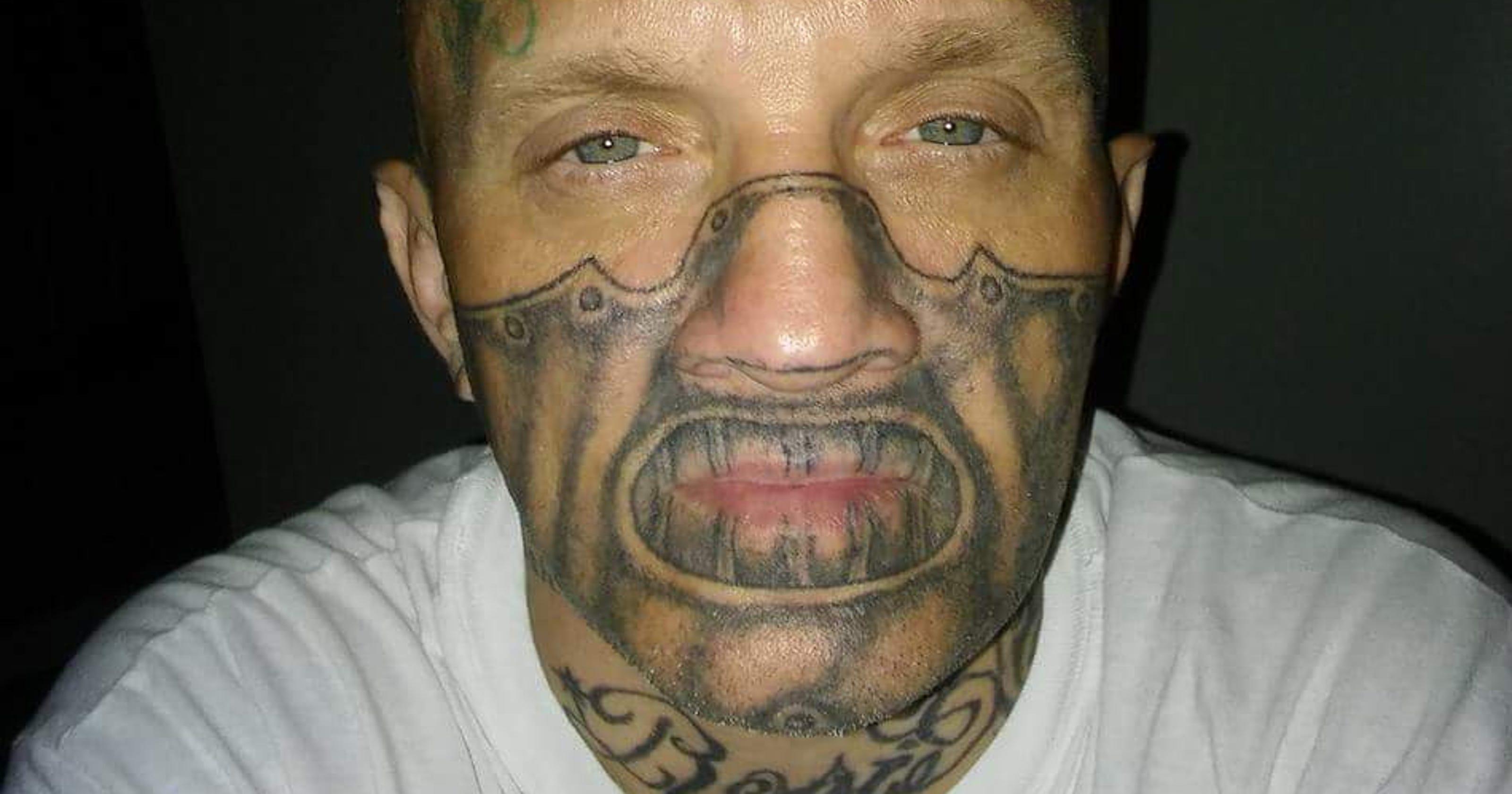 face tattoo man arrested after police posts mug shot