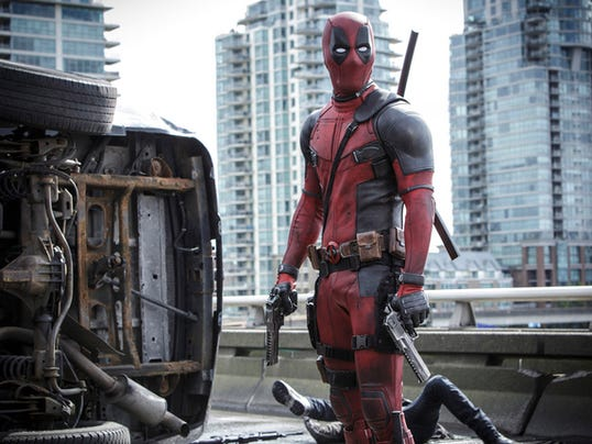 "This photo provided by Twentieth Century Fox shows Ryan Reynolds as Deadpool in ""Deadpool."" The Fox panel is scheduled for Saturday, July 11, 2015, at the San Diego Convention Center during Comic-Con International in San Diego."