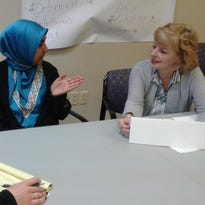 Ayesha Joz of the Muslim Community of Western Suburbs and Ailsa Blunk of First Presbyterian Church of Plymouth are planning a joint project at First Step's domestic violence shelter in Wayne.