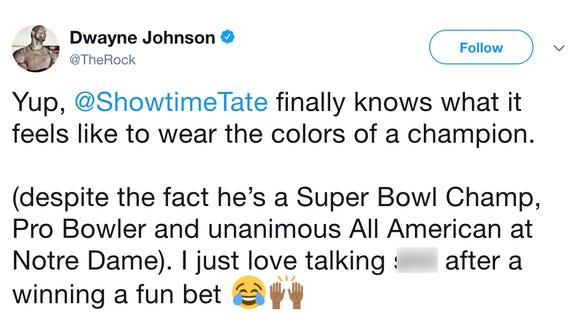 The Rock talks more trash and jokes about signing with Lions after Golden Tate pays off bet