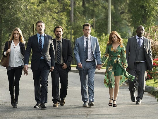 From left, Isla Fisher, Jon Hamm, Ed Helms, Annabelle