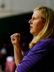 Benton girls basketball coach Mary Ward looks on during their game with Bossier Friday evening at Bossier High School.