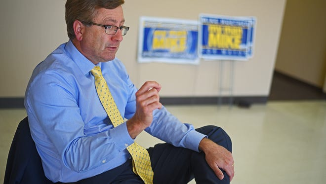 Sioux Falls Mayor Mike Huether Monday, April 17, 2017, at his former campaign headquarters in Sioux Falls.