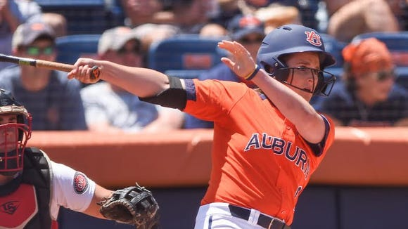 Auburn third baseman Kasey Cooper got three hits in a 14-2 victory over Jacksonville State in the NCAA Auburn Regional final on May 22, 2016