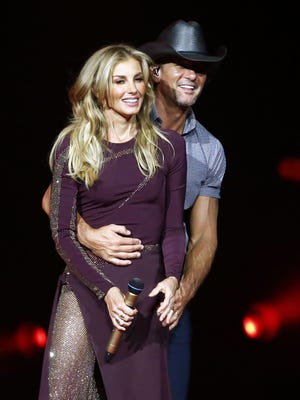 "Tim McGraw and Faith Hill  perform their ""Soul2Soul"" tour on July 21, 2017, at Gila River Arena in Glendale."