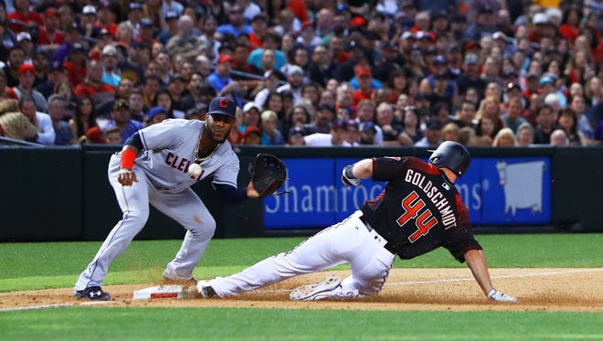 Apr 8, 2017: Arizona Diamondbacks base runner Paul Goldschmidt (44) steals third base ahead of the tag by by Cleveland Indians third baseman Yandy Diaz in the sixth inning at Chase Field.