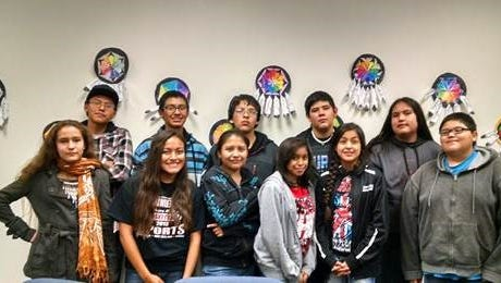 Mescalero Apache Leadership Lincoln participants will graduate in May. Pictured, from left, back row; Cameron Tsinnijinnie, Sebastian Chino, Josiah Sago, Jacob Chino and Eston Fulsom.  From left, front row: Ashleigh Chino, Adriana Rocha, Geraldine Rice, Amberlee Fastwolf, Terryne Chee and Seferino Fastwolf Not pictured: Brooklyn Mendez