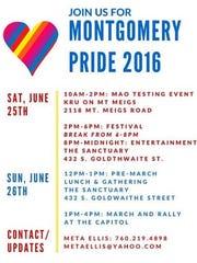 Schedule of events for Montgomery Pride Weekend