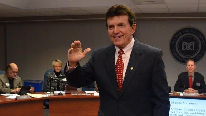 Del Mar College Regent Guy Watts is sworn in December 2014.