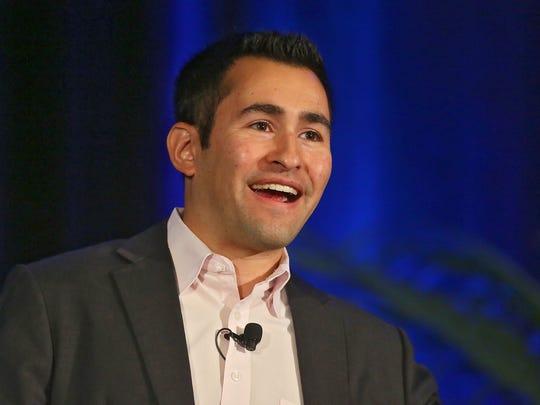 Dan Schawbel of Millennial Branding gives the keynote presentation at the 2014 Coachella Valley Economic Summit, Thursday in Palm Desert, October 30, 2014.