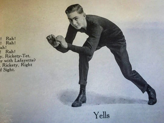 A yell leader page in the 1916 Nautilus, the Lafayette Jefferson High School yearbook.
