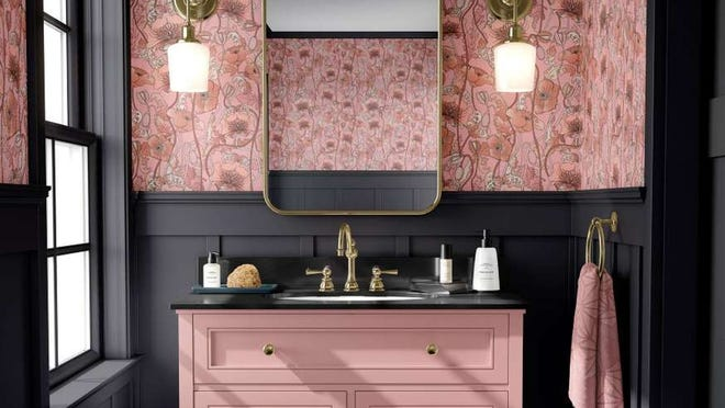 Set the stage for a glorious bathroom with dare-to-be-pink and a lustrous shade of gray.
