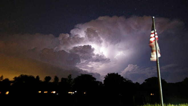 A storm move through north of Milwaukee, over Ellsworth Park in Bayside on Tuesday,