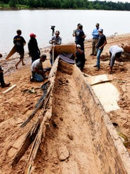 A canoe believed to be made by the Caddo Nation was