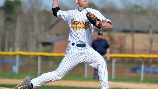 Buena Regional High School pitcher Andrew Cartier tossed a one-hitter Tuesday in his team's 11-1 victory over Middle Township.