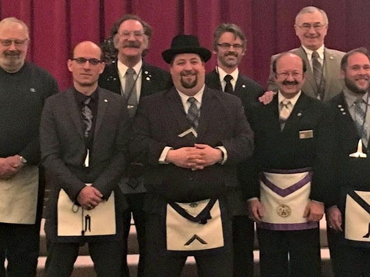 Manitowoc Lodge 65 Free and Accepted Masons recently installed its officers for 2018. Pictured, from left (back row) are Dean Graunke, trustee; Gary Gold, senior deacon; Alex Bruder, secretary/treasurer; Jim Hooper, junior deacon; (front row) Dean Brusky, junior warden/counselor; Eric Pangburn, master; Erwin Wuehr, installing master; and Cory Witting, senior warden.