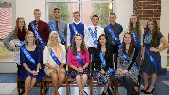 (Back Row) Left to right: Junior Attendant Kali Mitten, Senior King Candidates Owen Diehl, Kent Dunn, Justin Dye, Hunter Miles and Cole Stauffer, Sophomore Attendant Alexis Karshner and Freshman Attendant Holly Walsh. (Front Row) Left to right: Senior Queen Candidates Bailey Barnes, Allison Betkey, Alexis Cooper, Mindee Graves, and Elizabeth Grim. The homecoming king is Cole Stauffer and the queen is Elizabeth Grim.
