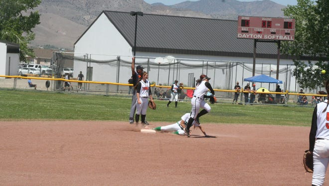 Fernley plays against Fallon in a Division I-A North Region Tournament game last May at Dayton High School. The Lyon County School District is considering repairs to the Dayton softball field, which slopes severely from left field to right field.
