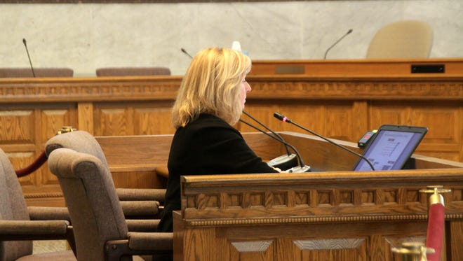 Liz Blume, director of the Community Building Institute at Xavier University, presents phase two of a report focused on Cincinnati youth to the City Council's Human Services, Youth, and Arts Committee on Monday.