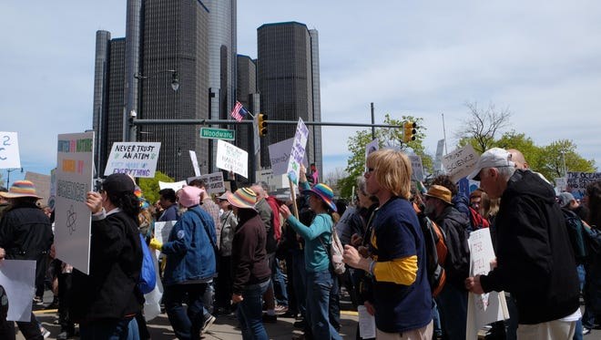 Demonstrators at the Detroit March for Science on Earth Day, April 22, 2017 at Hart Plaza in Detroit.