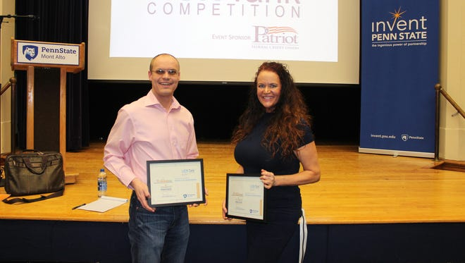 Kyle Snowberger (left), Chambersburg, and Kirsten Hubbard (right) Waynesboro, were the winners of Penn State Mont Alto LaunchBox's LION Tank competition which was held the evening of Friday, March 16 at Penn State Mont Alto. The two won grants to help jumpstart their business and product.