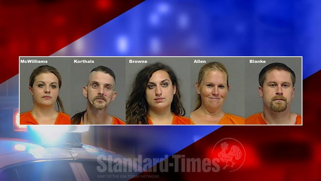 San Angelo police arrest Kathryn McWilliams, Michael Korthals, Kayla Browne, Theresa Allen, and Brandon Blanke, Sept. 7, 2017 after a search yielded the seizure of a quantity of suspected methamphetamine and drug paraphernalia.