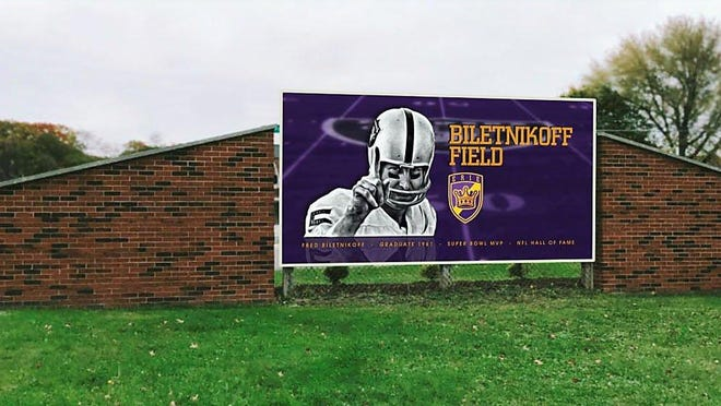 This artist's rendering shows the back side of a new sign honoring NFL Hall-of-Fame member Fred Biletnikoff proposed to replace the current sign at Peach and Chestnut streets in Erie.