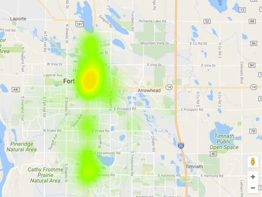 This heat map shows Fort Collins Police Services contacts