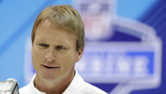 Oakland Raiders head coach Jon Gruden speaks during a press conference at the NFL Combine, Wednesday, Feb. 28, 2018, in Indianapolis.