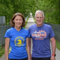 Tina Hoelzle and Gregg Gerber run the North Coast Inland Trail in Fremont, not far from where the former Camelback Bridge once stood. Hoelzle was the first entrant, and Gerber was the first race director, of the inaugural Camelback Race in 1979.