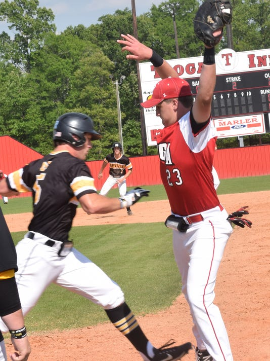 Tioga's first baseman Landon Vercher (23, right) tags first for an out against Neville's Cole McCarty (5, left).