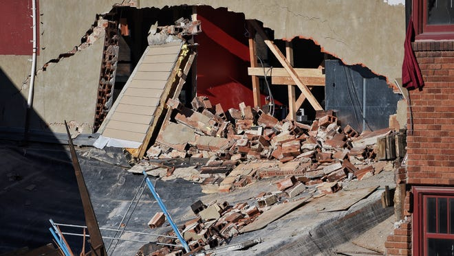 A hole has opened in the south-side exterior of the PAve building on Phillips Avenue in Sioux Falls.