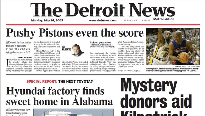 The front page for Monday, May 16, 2005.