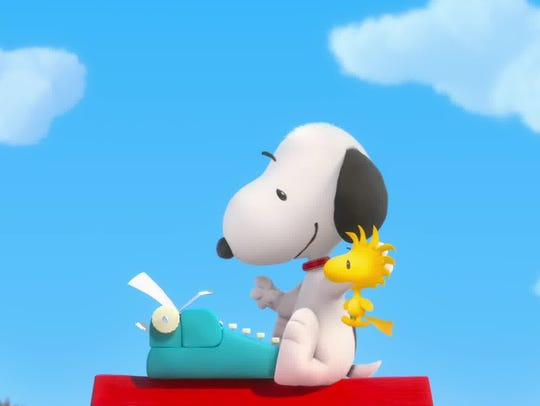 Snoopy sits down to type another adventure of WWI air