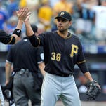 Free agent Joakim Soria, shown pitching for Pittsburgh Sept. 10, could return to Motown, but no numbers have been exchanged.