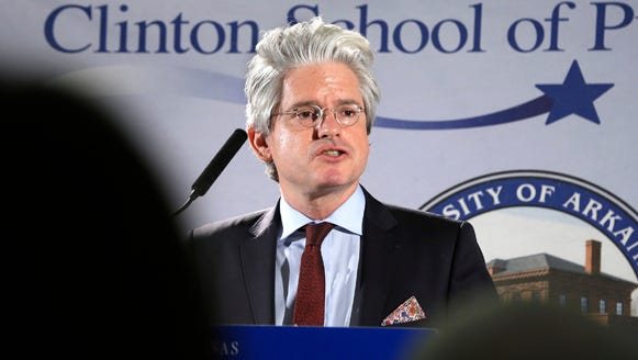 David Brock, founder of American Democracy Legal Fund, speaks at the Clinton School of Public Service in Little Rock, Ark., Tuesday, March 25, 2014.