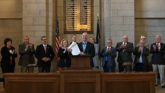 "Governor Ricketts signed paperwork to formally name U.S. Highway 20 as the ""Nebraska Medal of Honor Highway"" during Veterans Legislative Day at the Nebraska State Capitol."