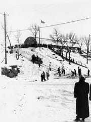 Crowds gather for winter fun at the old Winter Haven recreation area in Sartell in the early 1950s.