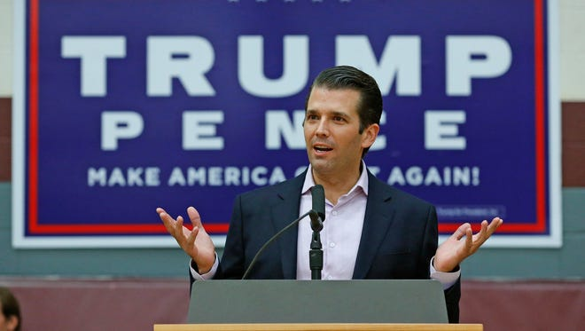 Donald Trump Jr. speaks at a campaign rally for his father, Republican presidential candidate Donald Trump, at Arizona State University Thursday, Oct. 27, 2016, in Tempe, Ariz. (AP Photo/Ross D. Franklin)