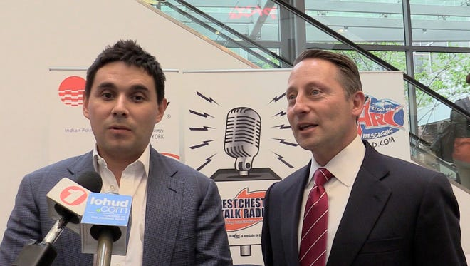 Westchester County Executive Rob Astorino, right, and Nicholas Singer of Standard Amusements announce the timetable for the $60 million improvement plan scheduled for Playland. Standard Amusement is the company that the county has chosen to take over management of the amusement park. The two spoke in White Plains May 5, 2017.