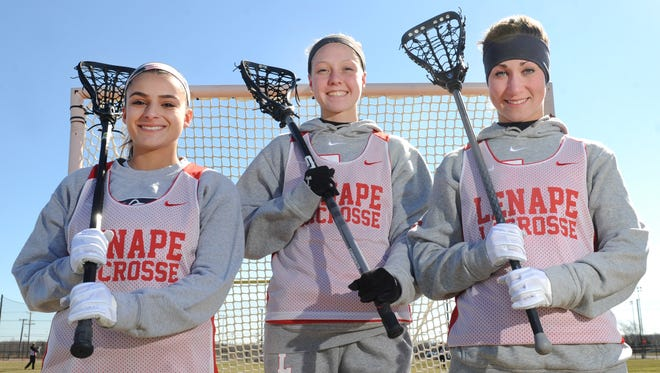 Lenape seniors, from left,  Gabby Fornia, Erin Donoghue and Carlee Faraghan Braverman guide an offense that rivals the best in program history.