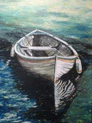 """Anchored Boat"" by Debra Brienen is one of the works being exhibited in ""Still Side By Side""."