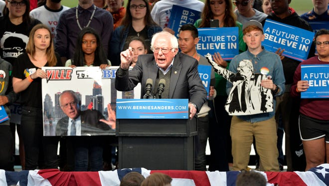 Democratic Presidential candidate Bernie Sanders speaks to gathering of supporters at the Big Four Lawn, Tuesday, May. 03, 2016 in Louisville Ky.
