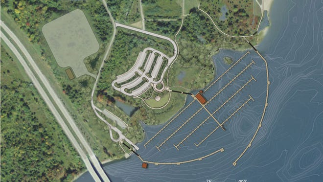 An artist's rendering of the proposed marina at Caesar Creek Lake in Warren County. The project's first phase will feature 120 boat slips, a refueling station and other amenities.