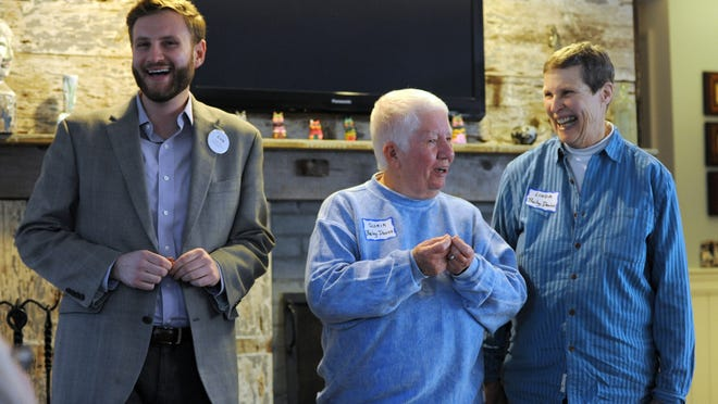 State Sen. Julian Cyr, left, along with Gloria Bailey-Davies, center, and her wife, Linda Bailey-Davies, shown at a campaign event in 2016, said they were thrilled by the Supreme Court ruling on LGBTQ protections in the workplace. The Bailey-Davieses, plaintiffs in the court case that made gay marriage legal in Massachusetts in 2004, said they saw this ruling as even more significant.
