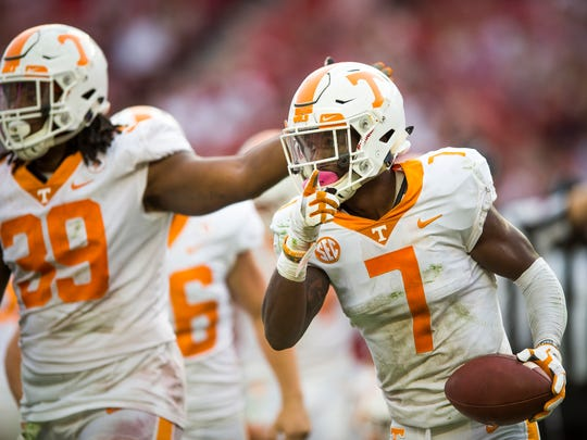 Tennessee defensive back Rashaan Gaulden (7) celebrates after recovering a fumble during Tennessee's game against Alabama at Bryant Denny Stadium in Tuscaloosa on Saturday, Oct. 21, 2017.