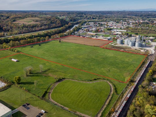 The former General Electric site, outlined in orange, is the primary site that has been identified for development as an industrial park in a recent study commissioned by the Coshocton Port Authority. Larry and Rodney Endsley recently bought the land for future economic development and is looking to work with the port authority on doing such.