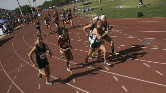 Girls Division III runners take off during the State Championships for Track and Field on May 6, 2017 at Mesa Community College in Mesa, Ariz.